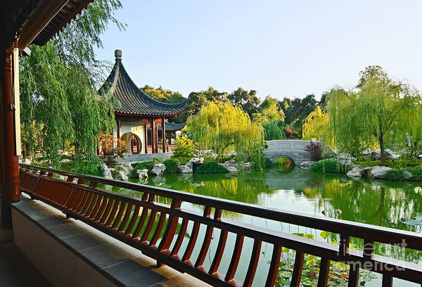 Chinese Pavilion Photograph - Garden Terrace - Chinese Garden At The Huntington Library. by Jamie Pham