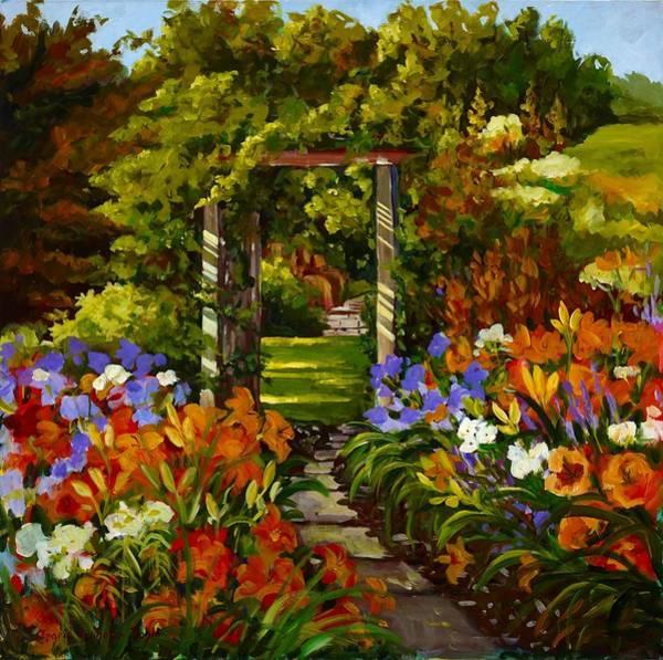 Painting - Garden Trellis Garden Landscape by Ingrid Dohm