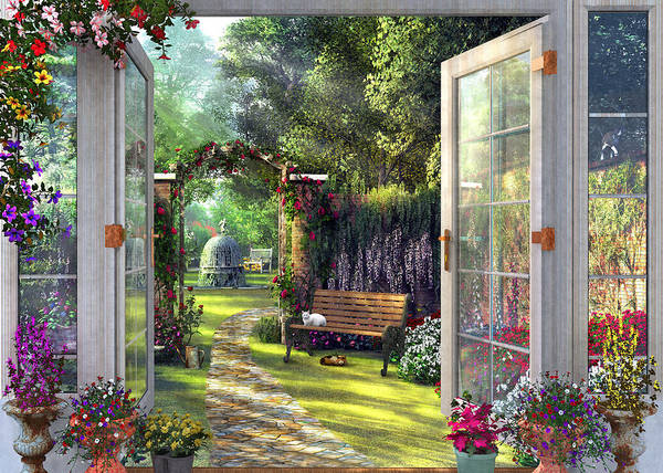 Garden Drawing - Garden View by MGL Meiklejohn Graphics Licensing