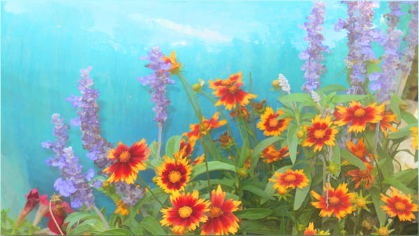 Painting - Garden With Turquoise Purple Yellow And Red by Douglas MooreZart
