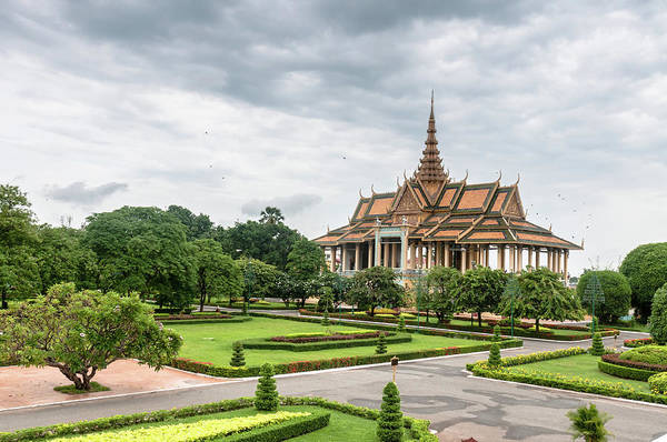 Cambodian Photograph - Gardens At The Royal Palace In Phnom by Tbradford