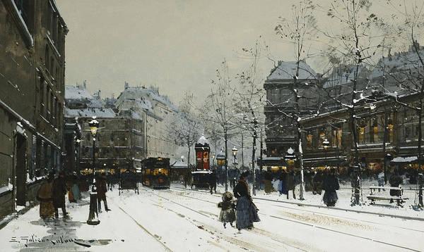 Transport Painting - Gare Du Nord Paris by Eugene Galien-Laloue