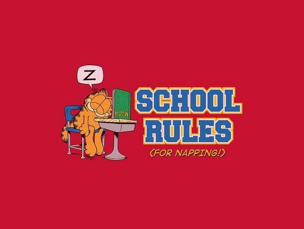 Wall Art - Digital Art - Garfield - School Rules by Brand A