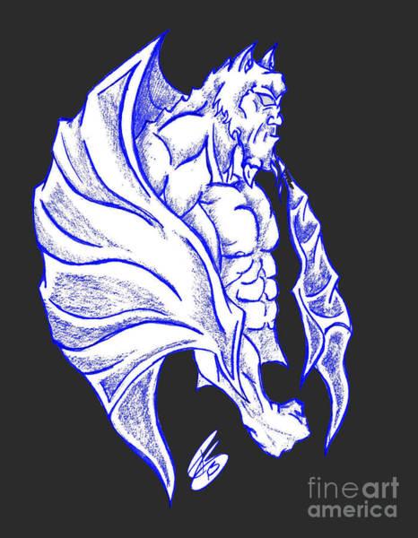 Gargoyle Digital Art - Gargoyle Drawing Blue And White On Black by Ray B