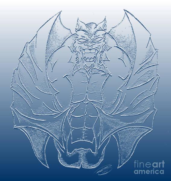 Gargoyle Digital Art - Gargoyle Enhanced Drawing In Blue Shades by Ray B