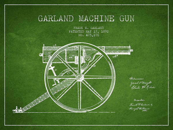 Weapons Digital Art - Garland Machine Gun Patent Drawing From 1892 - Green by Aged Pixel