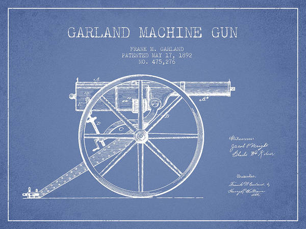 Shooting Digital Art - Garland Machine Gun Patent Drawing From 1892 - Light Blue by Aged Pixel