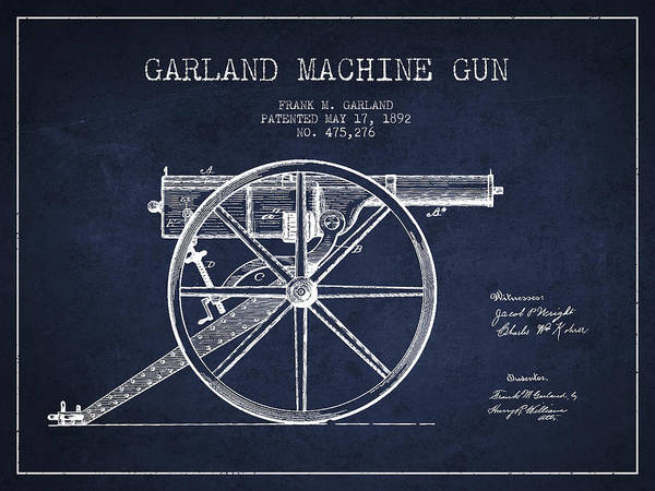 Antique Firearms Wall Art - Digital Art - Garland Machine Gun Patent Drawing From 1892 - Navy Blue by Aged Pixel
