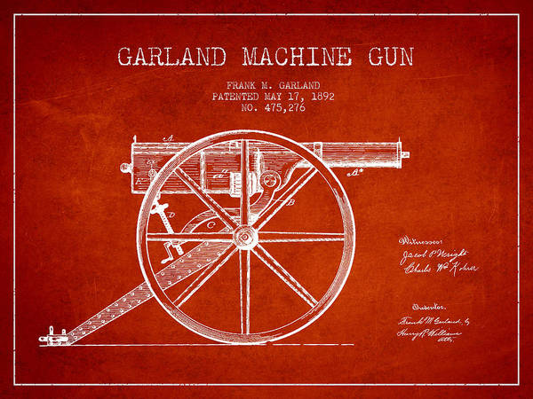 Shooting Digital Art - Garland Machine Gun Patent Drawing From 1892 - Red by Aged Pixel