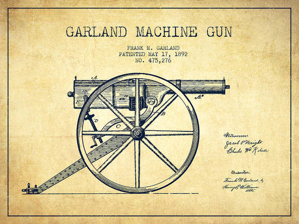 Shooting Digital Art - Garland Machine Gun Patent Drawing From 1892 - Vintage by Aged Pixel