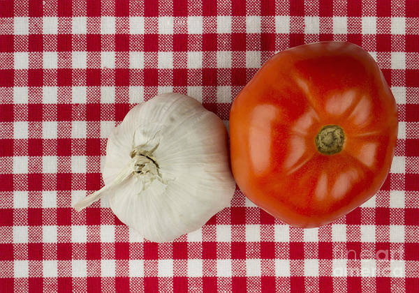 Wall Art - Photograph - Garlic And Tomato by Blink Images