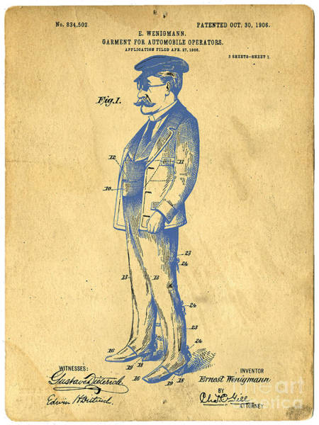 Outfit Digital Art - Garment For Automobile Operators Patent by Edward Fielding