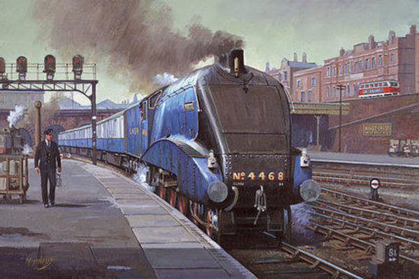 Vintage Train Painting - Garter Blue by Mike Jeffries