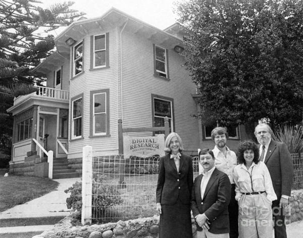 Photograph - Gary Kildall  His Wife Dorothy Digital Research Inc. Photo Outside 801 Lighthous Pacific Grove 1980 by California Views Archives Mr Pat Hathaway Archives