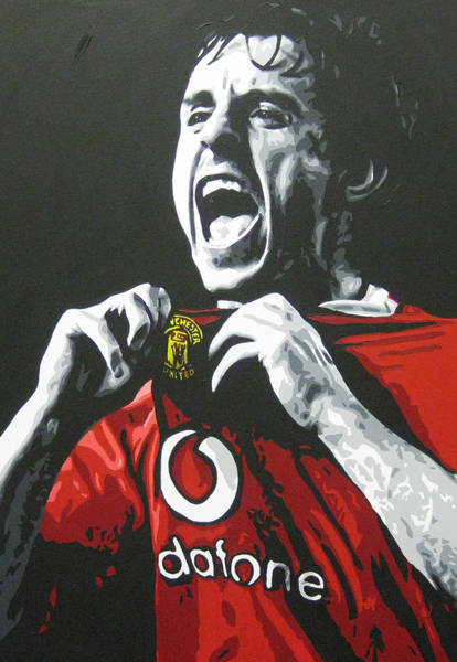 Manchester United Fc Wall Art - Painting - Gary Neville - Manchester United Fc by Geo Thomson
