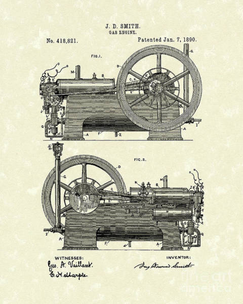 Drawing - Gas Engine 1890 Patent Art by Prior Art Design