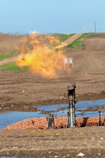 Fossil Fuel Photograph - Gas Flare At An Oil Field by Jim West