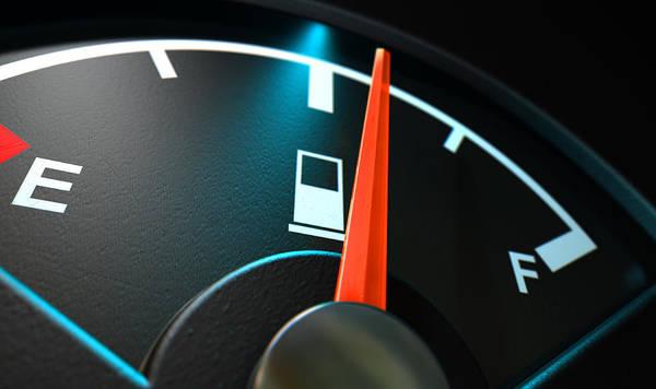 Dashboard Digital Art - Gas Gage Illuminated Half by Allan Swart