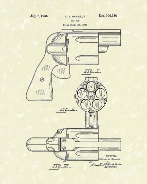 Drawing - Gas Gun 1936 Patent Art by Prior Art Design