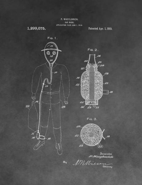 Wall Art - Mixed Media - Gas Mask Patent by Dan Sproul