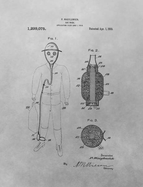 Wall Art - Drawing - Gas Mask Patent Drawing by Dan Sproul