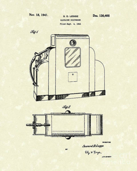 Drawing - Gas Pump 1941 Patent Art by Prior Art Design