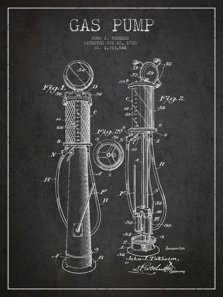 Gas Digital Art - Gas Pump Patent Drawing From 1930 - Dark by Aged Pixel
