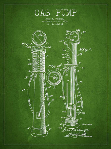 Gas Digital Art - Gas Pump Patent Drawing From 1930 - Green by Aged Pixel