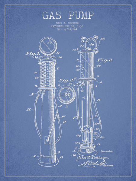 Gas Digital Art - Gas Pump Patent Drawing From 1930 - Light Blue by Aged Pixel
