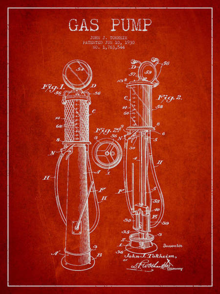 Gas Digital Art - Gas Pump Patent Drawing From 1930 - Red by Aged Pixel