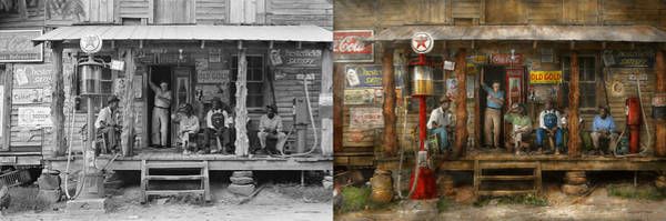 Wall Art - Photograph - Gas Station - Sunday Afternoon - 1939 - Side By Side by Mike Savad