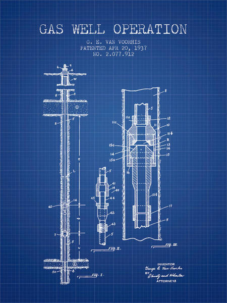 Gas Digital Art - Gas Well Operation Patent From 1937 - Blueprint by Aged Pixel