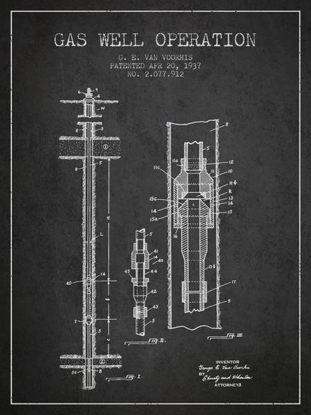 Gas Digital Art - Gas Well Operation Patent From 1937 - Charcoal by Aged Pixel