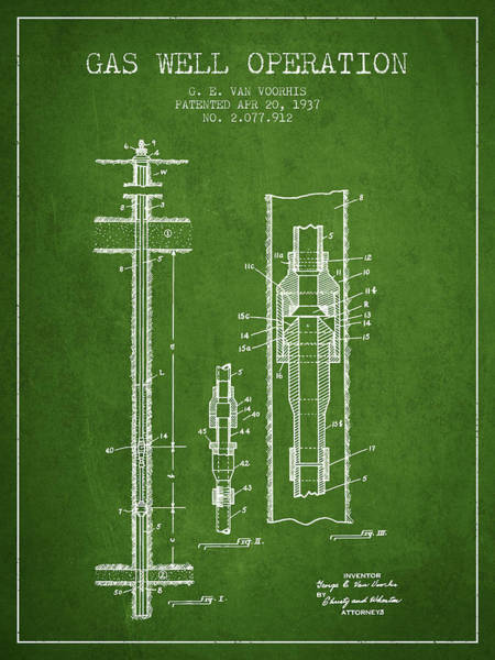 Gas Digital Art - Gas Well Operation Patent From 1937 - Green by Aged Pixel