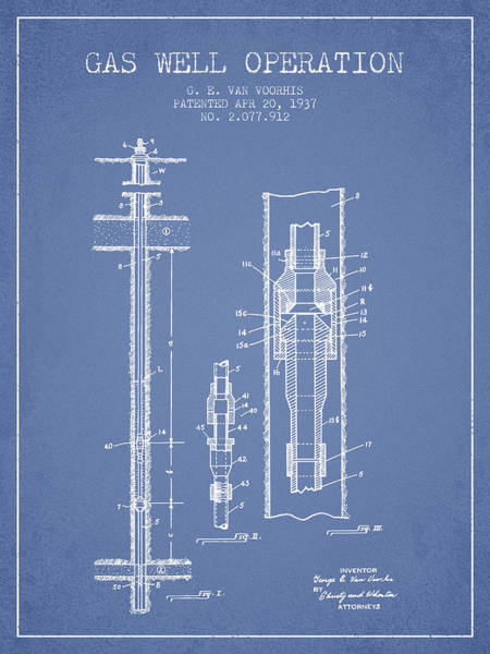Gas Digital Art - Gas Well Operation Patent From 1937 - Light Blue by Aged Pixel