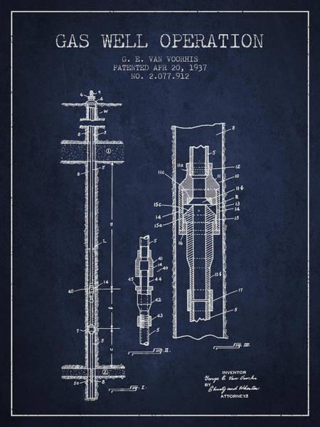 Gas Digital Art - Gas Well Operation Patent From 1937 - Navy Blue by Aged Pixel