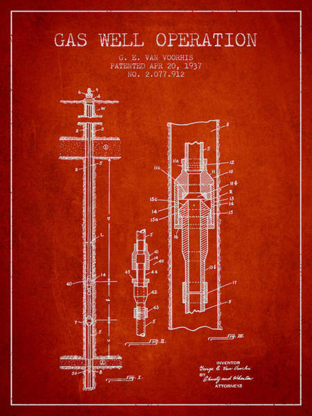 Gas Digital Art - Gas Well Operation Patent From 1937 - Red by Aged Pixel