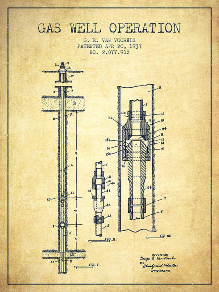 Gas Digital Art - Gas Well Operation Patent From 1937 - Vintage by Aged Pixel
