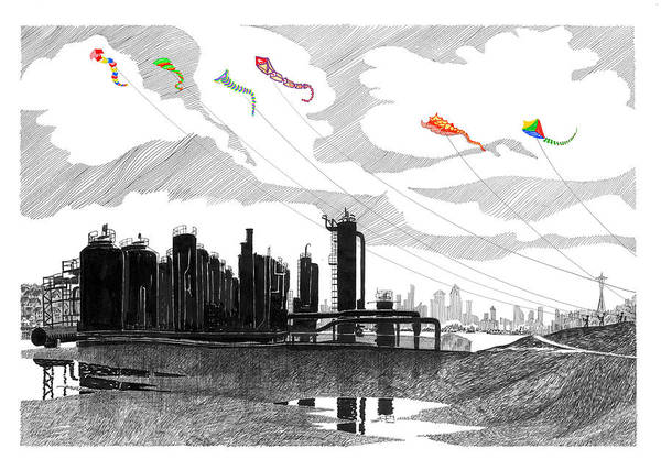 Flying A Kite Drawing -  Flying Kites In Seattle by Jack Pumphrey