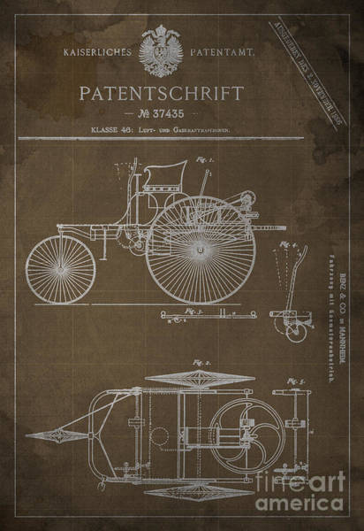 Old Car Drawing - Gaskraftmaschinen Patent Benz And Co 1886 by Drawspots Illustrations