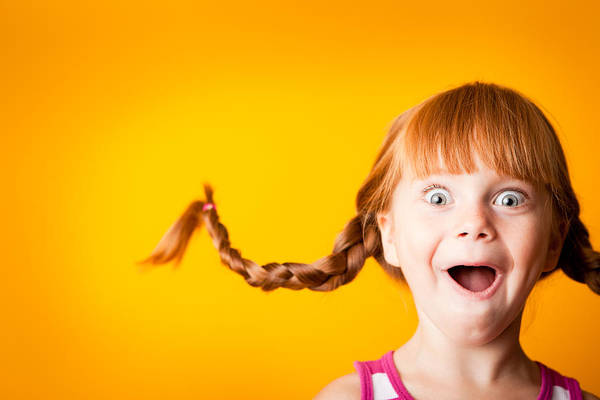 Gasping Red-haired Girl With Upward Braids And Excited Look Art Print by Ideabug