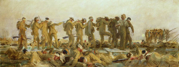Wounded Soldier Painting - Gassed    An Oil Study by John Singer Sargent