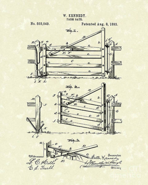 Drawing - Gate 1893 Patent Art by Prior Art Design