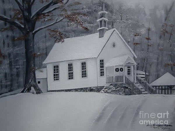 Happy Little Trees Painting - Gates Chapel - Ellijay - Signed By Artist by Jan Dappen