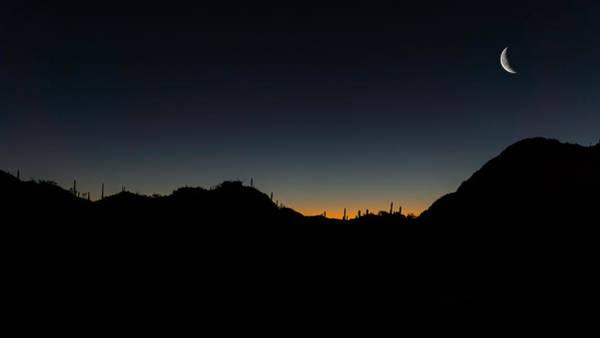 Photograph - Gates Pass Waining Moonset  by Chris Bordeleau