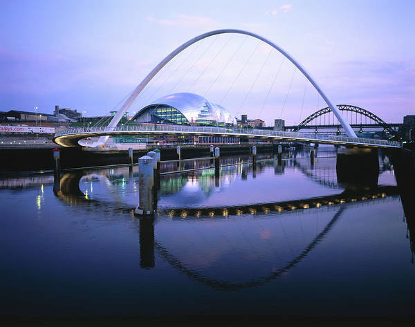 Gateshead Millennium Bridge Photograph - Gateshead Millennium Bridge And Sage by Chris Mellor