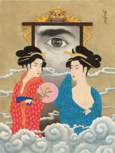 Geisha Mixed Media - Gateway To Old Tokyo by Bobby Beausoleil