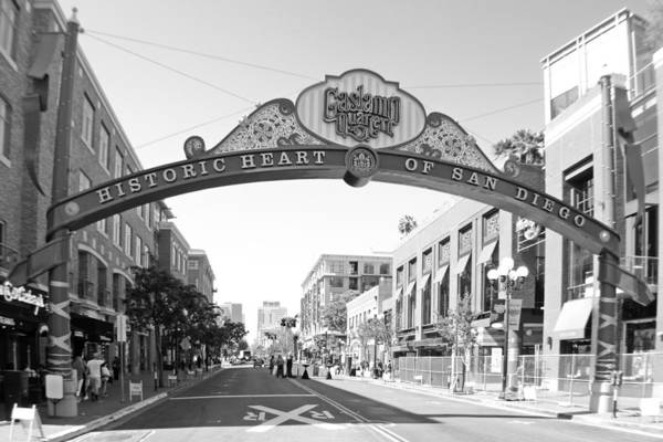 Photograph - Gateway To San Diego Gas Lamp Bw by Jeremy McKay