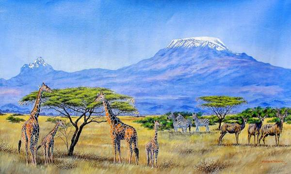 Painting - Gathering At Mount Kilimanjaro by Joseph Thiongo