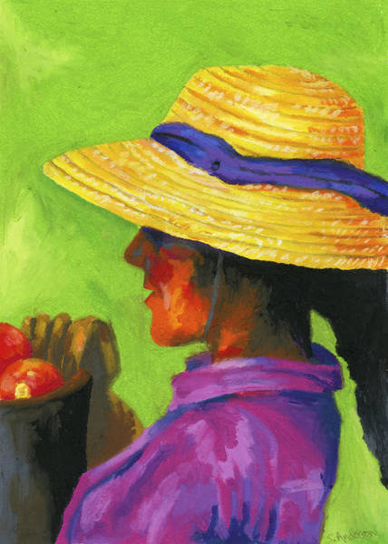 Wall Art - Painting - Gathering Tomatoes by Stephen Anderson